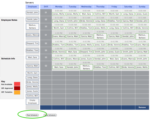 ... populate the rest of your schedule post the schedule to your employees
